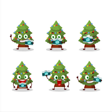 Photographer profession emoticon with green christmas tree cartoon character