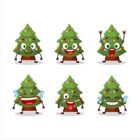 Cartoon character of green christmas tree with smile expression Ilustração