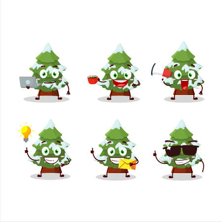green snow christmas tree cartoon character with various types of business emoticons