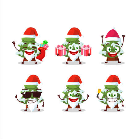 Santa Claus emoticons with green snow christmas tree cartoon character 免版税图像 - 157580645