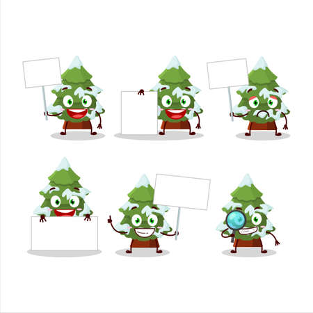 green snow christmas tree cartoon character bring information board