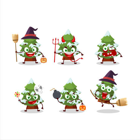 Halloween expression emoticons with cartoon character of green snow christmas tree