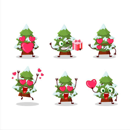 green snow christmas tree cartoon character with love cute emoticon