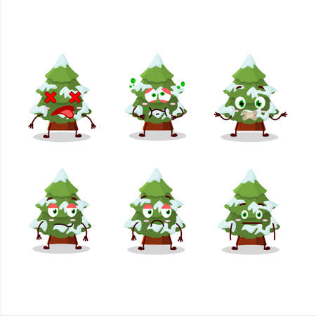 green snow christmas tree cartoon character with nope expression
