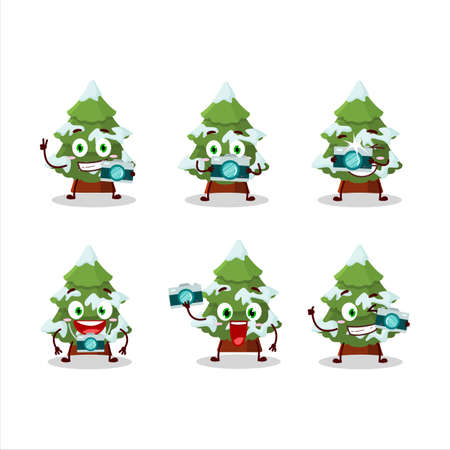 Photographer profession emoticon with green snow christmas tree cartoon character