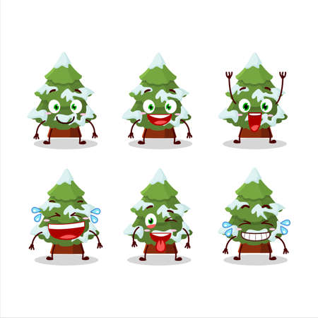 Cartoon character of green snow christmas tree with smile expression