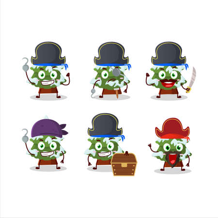 Cartoon character of green snow christmas tree with various pirates emoticons Ilustracja