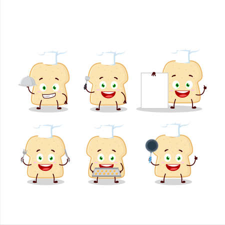 Cartoon character of slice of bread with various chef emoticons
