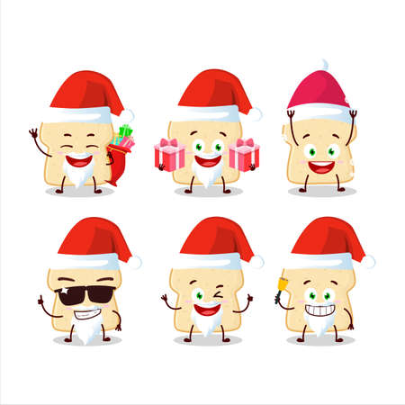 Santa Claus emoticons with slice of bread cartoon character
