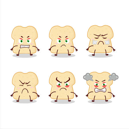 Slice of bread cartoon character with various angry expressions Ilustracja
