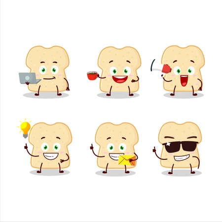 Slice of bread cartoon character with various types of business emoticons