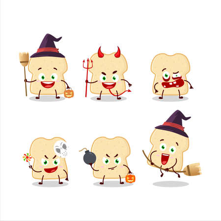 Halloween expression emoticons with cartoon character of slice of bread Ilustracja