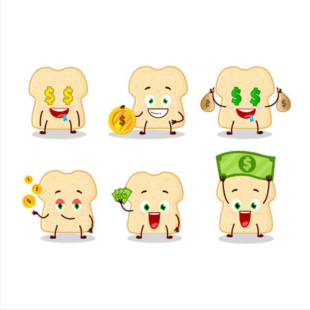 Slice of bread cartoon character with cute emoticon bring money