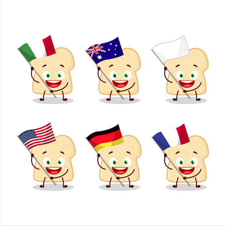 Slice of bread cartoon character bring the flags of various countries