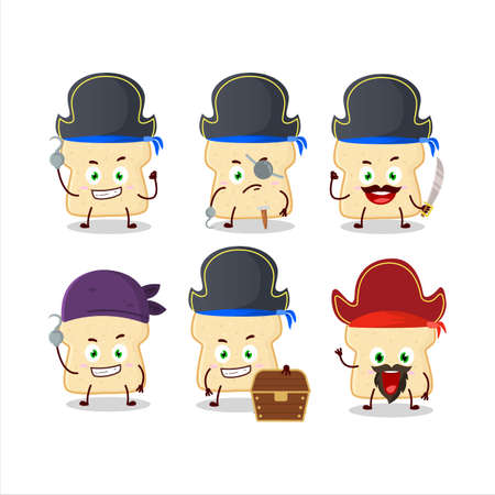 Cartoon character of slice of bread with various pirates emoticons