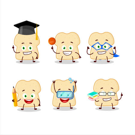 School student of slice of bread cartoon character with various expressions Zdjęcie Seryjne - 157582294