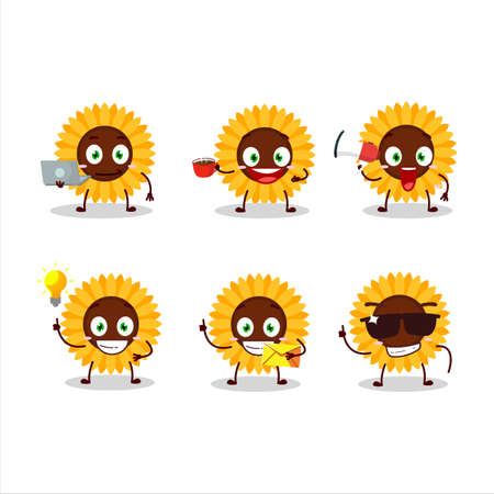 Sunflower cartoon character with various types of business emoticons Ilustracja