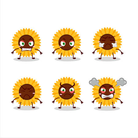Sunflower cartoon character with various angry expressions Ilustracja