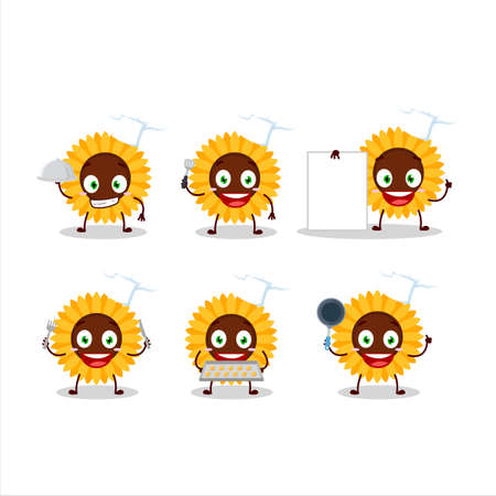 Cartoon character of sunflower with various chef emoticons Ilustracja