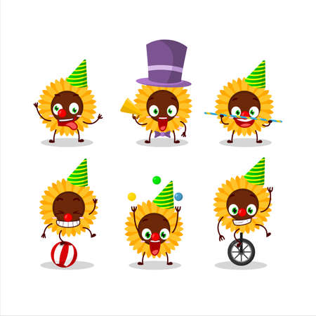 Cartoon character of sunflower with various circus shows