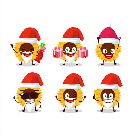 Santa Claus emoticons with sunflower cartoon character Ilustracja
