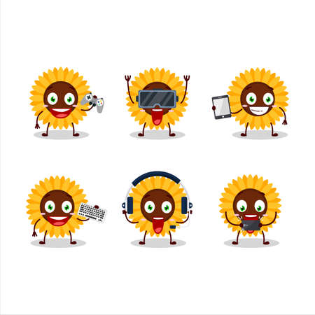 Sunflower cartoon character are playing games with various cute emoticons