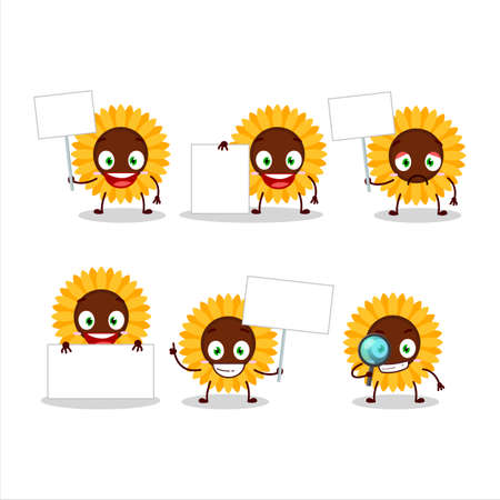 Sunflower cartoon in character bring information board