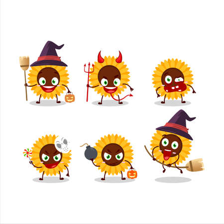 Halloween expression emoticons with cartoon character of sunflower