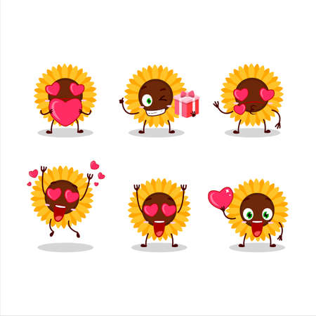 Sunflower cartoon character with love cute emoticon 矢量图像