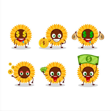 Sunflower cartoon character with cute emoticon bring money