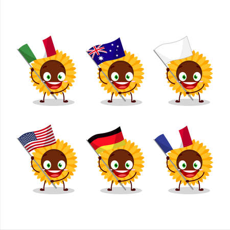Sunflower cartoon character bring the flags of various countries