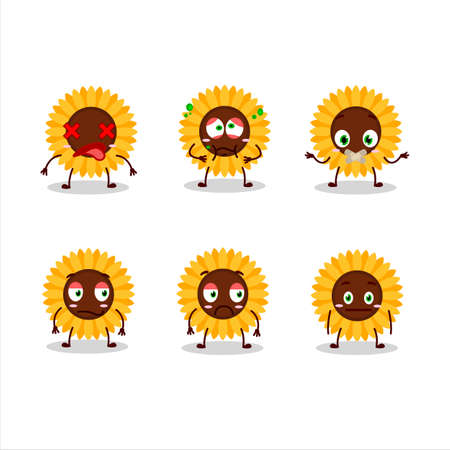 Sunflower cartoon in character with nope expression