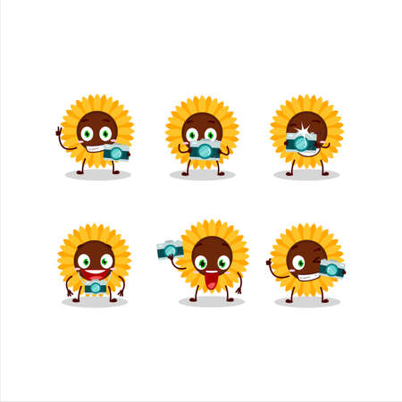 Photographer profession emoticon with sunflower cartoon character