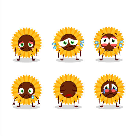 Sunflower cartoon in character with sad expression