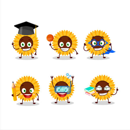 School student of sunflower cartoon character with various expressions
