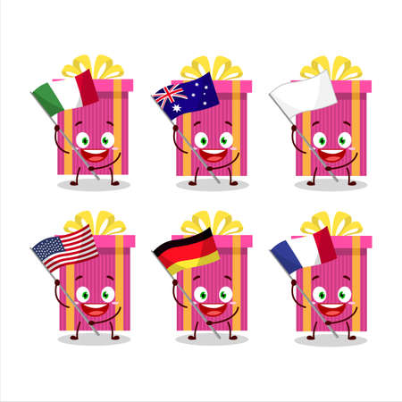 Pink christmas gift cartoon character bring the flags of various countries Vettoriali