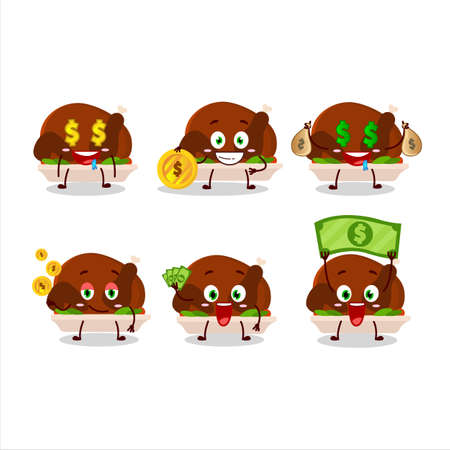 Turkey meat cartoon character with cute emoticon bring money