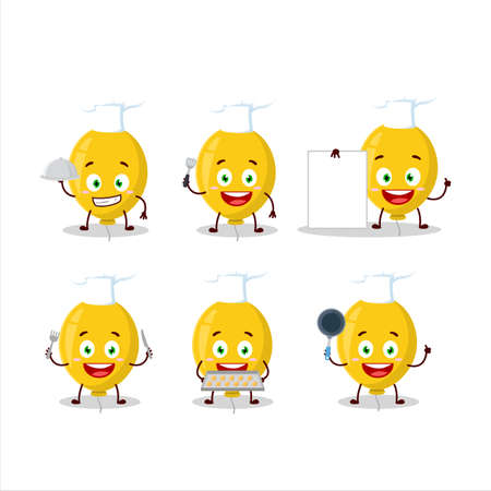 Cartoon character of yellow balloon with various chef emoticons