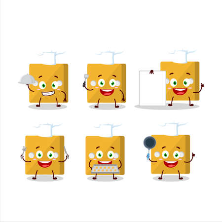 Cartoon character of yellow dice with various chef emoticons 向量圖像