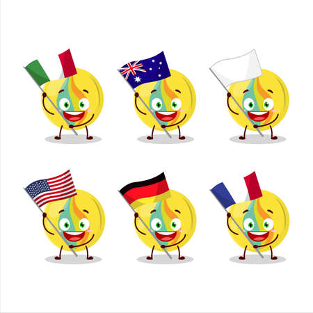Yellow marbles cartoon character bring the flags of various countries