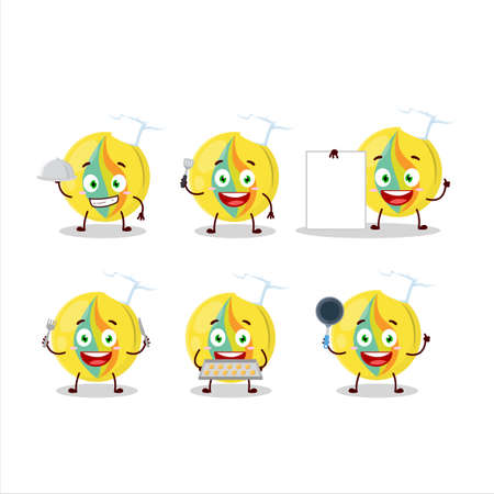 Cartoon character of yellow marbles with various chef emoticons 向量圖像