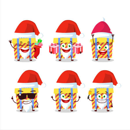 Santa Claus emoticons with yellow stripes gift cartoon character