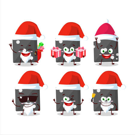 Santa Claus emoticons with black dice cartoon character