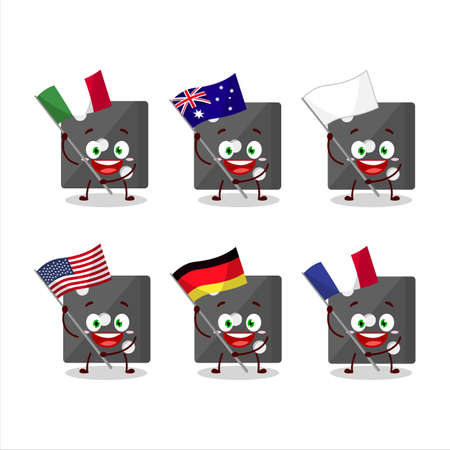 Black dice cartoon character bring the flags of various countries