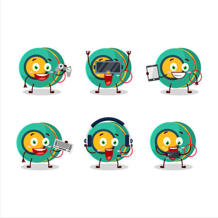 Kids yoyo cartoon character are playing games with various cute emoticons
