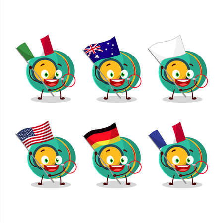 Kids yoyo cartoon character bring the flags of various countries