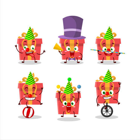 Cartoon character of red christmas gift with various circus shows