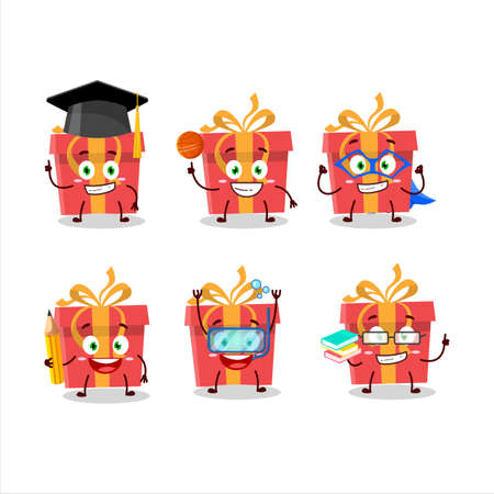 School student of red christmas gift cartoon character with various expressions