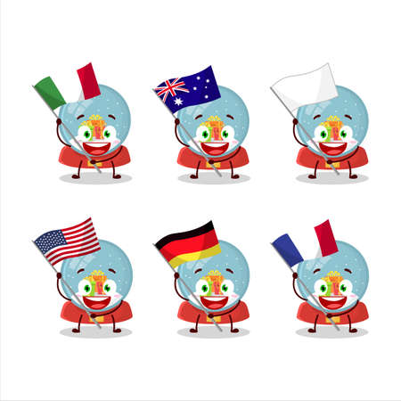 Snowball with gift cartoon character bring the flags of various countries Vettoriali
