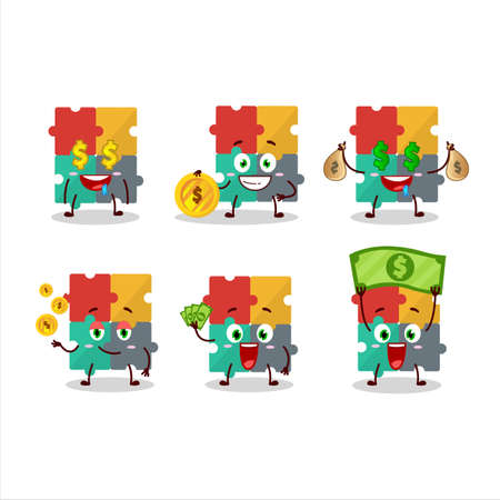 Puzzle cartoon character with cute emoticon bring money